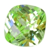 Cubic Zirconia - Green Apple - Cushion - Checkerboard 4mm