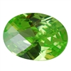 Cubic Zirconia - Green Apple - Oval - Checkerboard 10mm x 14mm