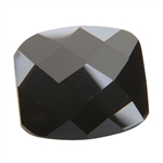 Cubic Zirconia - Jet Black - Barrel - Checkerboard