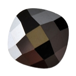 Cubic Zirconia - Jet Black - Cushion - Checkerboard 8mm