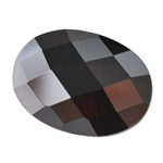 Cubic Zirconia - Jet Black - Oval - Checkerboard 12mm x 16mm