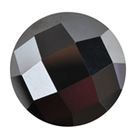 Cubic Zirconia - Jet Black - Cabochon Round - Checkerboard 12mm