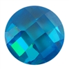 CZ: Blue Topaz - Cabochon Round - Checkerboard 14mm Pkg - 1