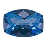 Cubic Zirconia - Blue Topaz - Barrel - Checkerboard 13mm x 18mm