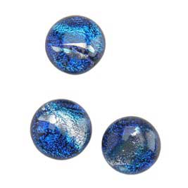 Dichroic Gems - Blue Medium - 12mm to 16mm - 3 gems