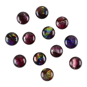 Dichroic Gems -Red Medium - 12mm to 16mm - 3 gems