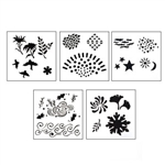 "Design Stencils for Enameling - ""Echoes"" Set of 5"