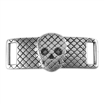 Antique Sterling Silver Plate Leather Bracelet Bar - Mesh Skull 10mm Pkg - 1