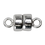Sterling Silver Button Shape Magnetic Clasp 4.5mm - Pkg/1