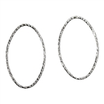 Sterling Silver Textured Oval Link Closed 17 x 27mm - Pkg/2