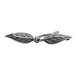 Silver Plate Hook & Eye Clasp - Paired Leaves 6mm x 38mm - 1 Set