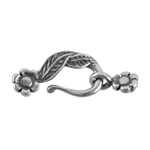 Silver Plate Mini Hook & Eye Clasp - Leaf and Flower