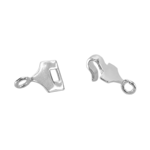 Silver Plate Hook & Eye Clasp - Mini Flat Square - 1 Set