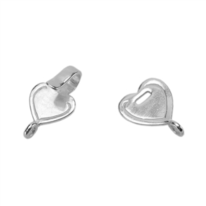 Silver Plate Hook & Eye Clasp -  Mini Flat Heart - 1 Set