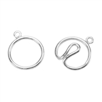 Silver Plate Hook & Eye Clasp - Wire Round - 1 Set