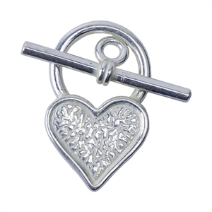 Silver Plate Toggle Clasp - Mini Heart - 1 Set