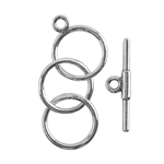 Sterling Silver Toggle Clasp - 3 Rings 12mm- 1 Set