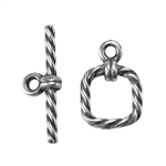 Silver Plate Mini Toggle Clasp - Roped Square - 1 Set