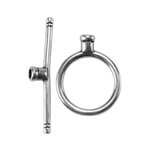 Silver Plate Toggle Clasp - Round Thin Medium - 1 Set