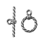 Silver Plate Mini Toggle Clasp - Roped Circle