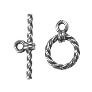Silver Plate Mini Toggle Clasp - Roped Circle - 1 Set