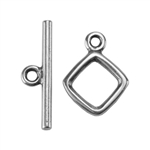 Silver Plate Mini Toggle Clasp - Square - 1 Set