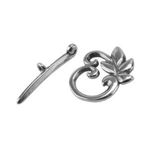 Silver Plate Mini Toggle Clasp - Designer Fern
