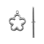 Silver Plate Toggle Clasp - Flower - 1 Set