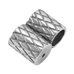 Silver Plate Slide Ends - Double Strand 4mm Pkg - 2