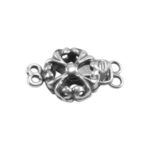 Silver Plate Double Strand Clasp - Puffed Fleur