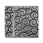 Antique Sterling Silver Plate Magnetic Leather Clasp - Swirl 20mm - 1 Set