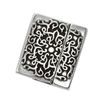 Antique Sterling Silver Plate Magnetic Leather Clasp - Star 10mm - 1 Set
