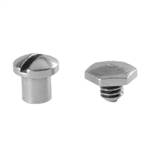 Antique Sterling Silver Plate Hexagonal Screw Rivet - Round 4mm