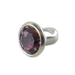 Silver Plate Snap Rivet - Czech Crystal Amethyst 6mm