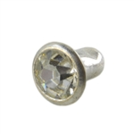 Silver Plate Snap Rivet - Czech Crystal 6mm