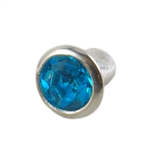 Silver Plate Snap Rivet - Czech Crystal Teal 6mm
