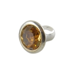Silver Plate Snap Rivet - Czech Crystal Light Topaz 6mm