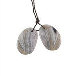 Laguna Lace Agate Gemstone - Freeform Pendant Pair 17x24mm - Matched Pair