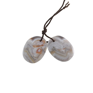 Laguna Lace Agate Gemstone - Freeform Pendant Pair 15x20mm - Matched Pair