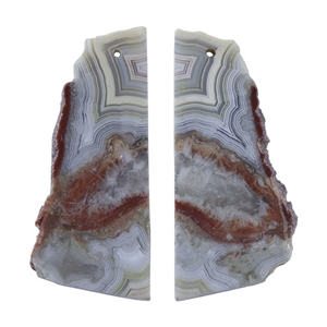 Laguna Lace Agate Gemstone - Freeform Pendant Pair 16mm x 36mm