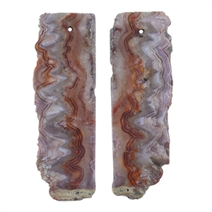 Laguna Lace Agate Gemstone - Freeform Pendant Pair 17mm x 50mm