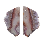 Laguna Lace Agate Gemstone - Freeform Pendant Pair 20mm x 36mm