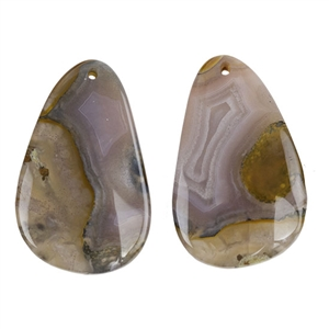 Laguna Lace Agate Gemstone - Freeform Cabochon 17mm x 27mm - Matched Pair