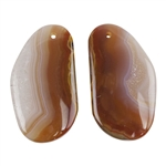 Laguna Lace Agate Gemstone - Freeform Cabochon 16mm x 28mm - Matched Pair
