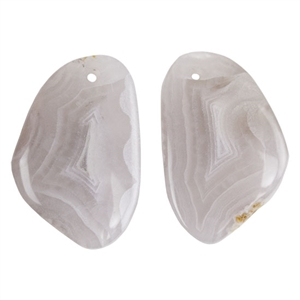Laguna Lace Agate Gemstone - Freeform Cabochon 16mm x 24mm - Matched Pair