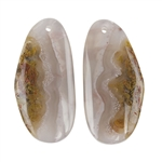 Laguna Lace Agate Gemstone - Pear Pendant Pair 12x33mm - Matched Pair