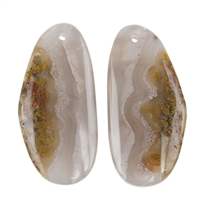 Laguna Lace Agate Gemstone - Freeform Cabochon 14mm x 29mm - Matched Pair