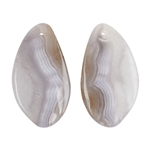 Laguna Lace Agate Gemstone - Freeform Cabochon 16mm x 30mm - Matched Pair