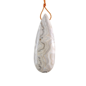 Laguna Lace Agate Gemstone - Pear Pendant 18x51mm