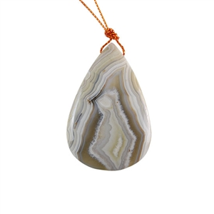 Laguna Lace Agate Gemstone - Pear Pendant 33x50mm